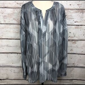 Two by Vince Camuto Geometric Sheer Top